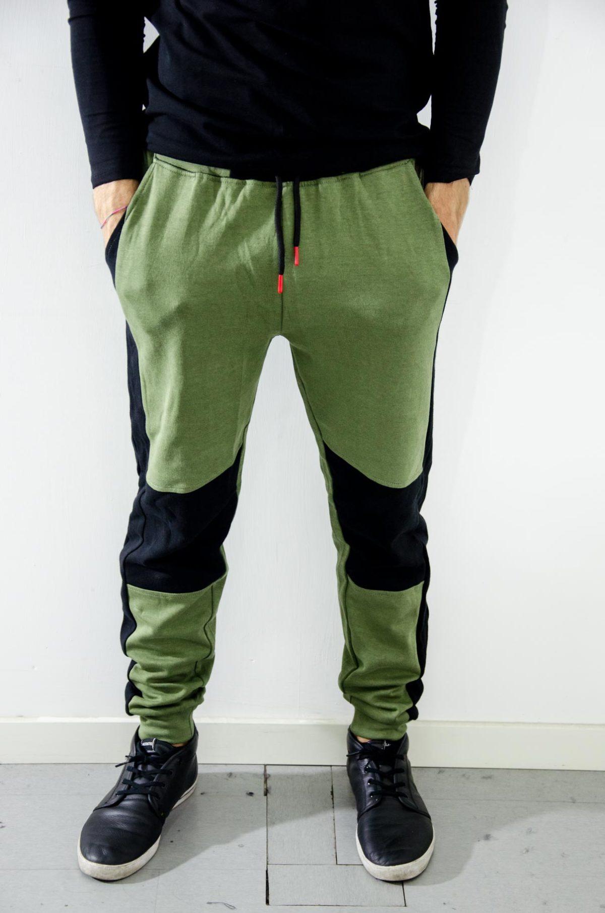 guess pantalone tuta uomo verde-nero