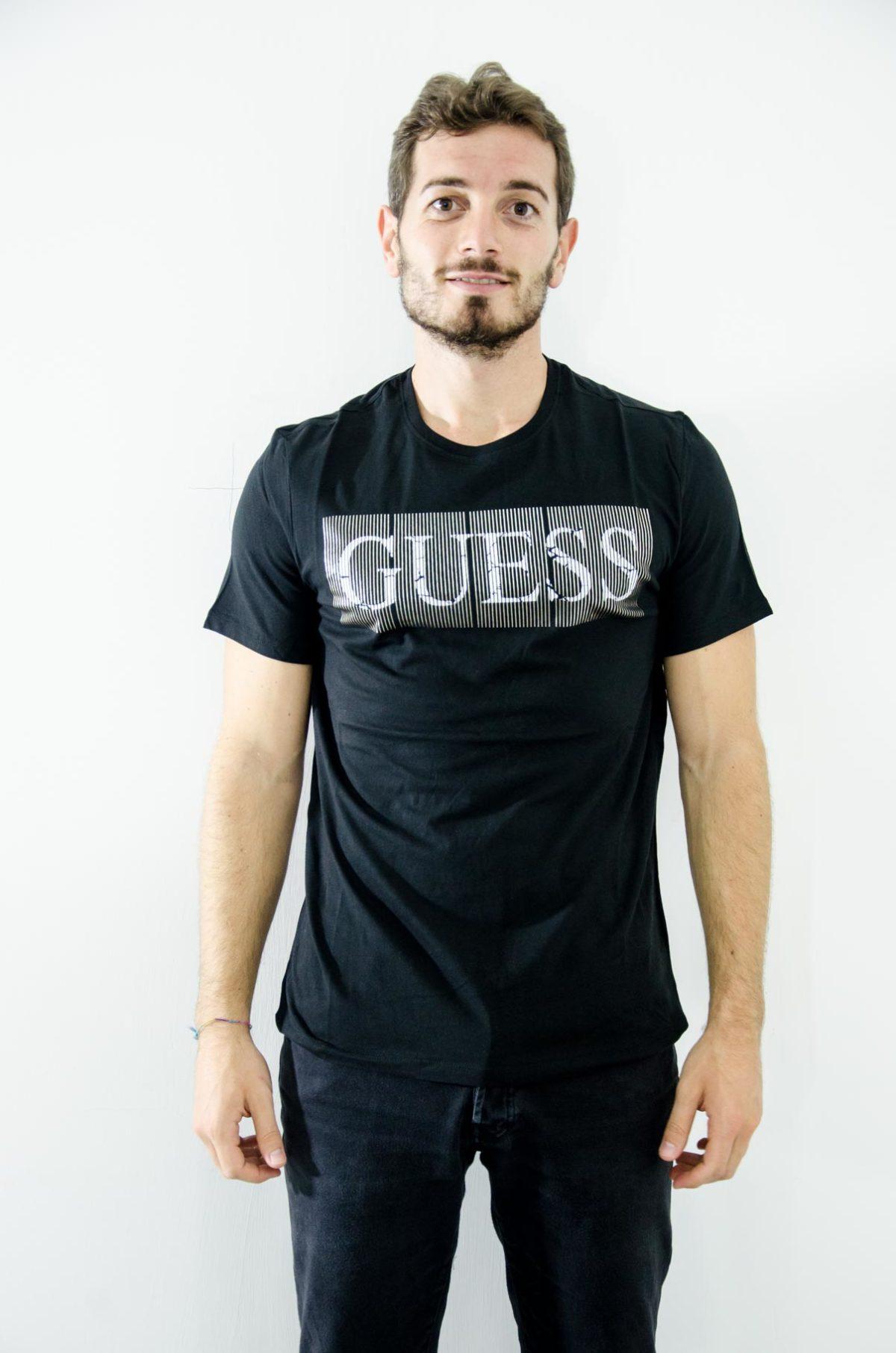 GUESS - T-SHIRT UOMO-nera stampa